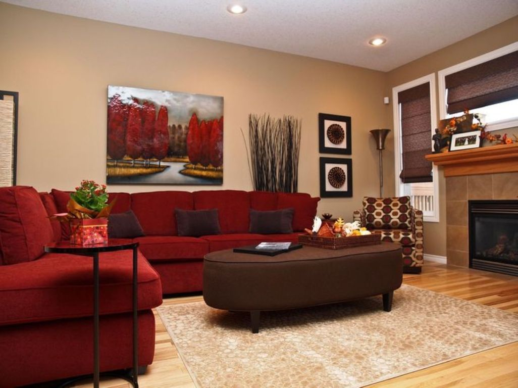 Red Corner Sofa Color Ideas For Cool Living Room Design With Recessed Lighting Decor And Large Rugs Red Couch Living Room Red Sofa Living Room Red Sofa Living
