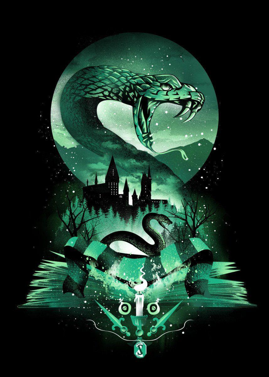Book Of Slytherin 2 Books Poster Print Metal Posters Displate Harry Potter Artwork Harry Potter Wallpaper Backgrounds Harry Potter Wallpaper
