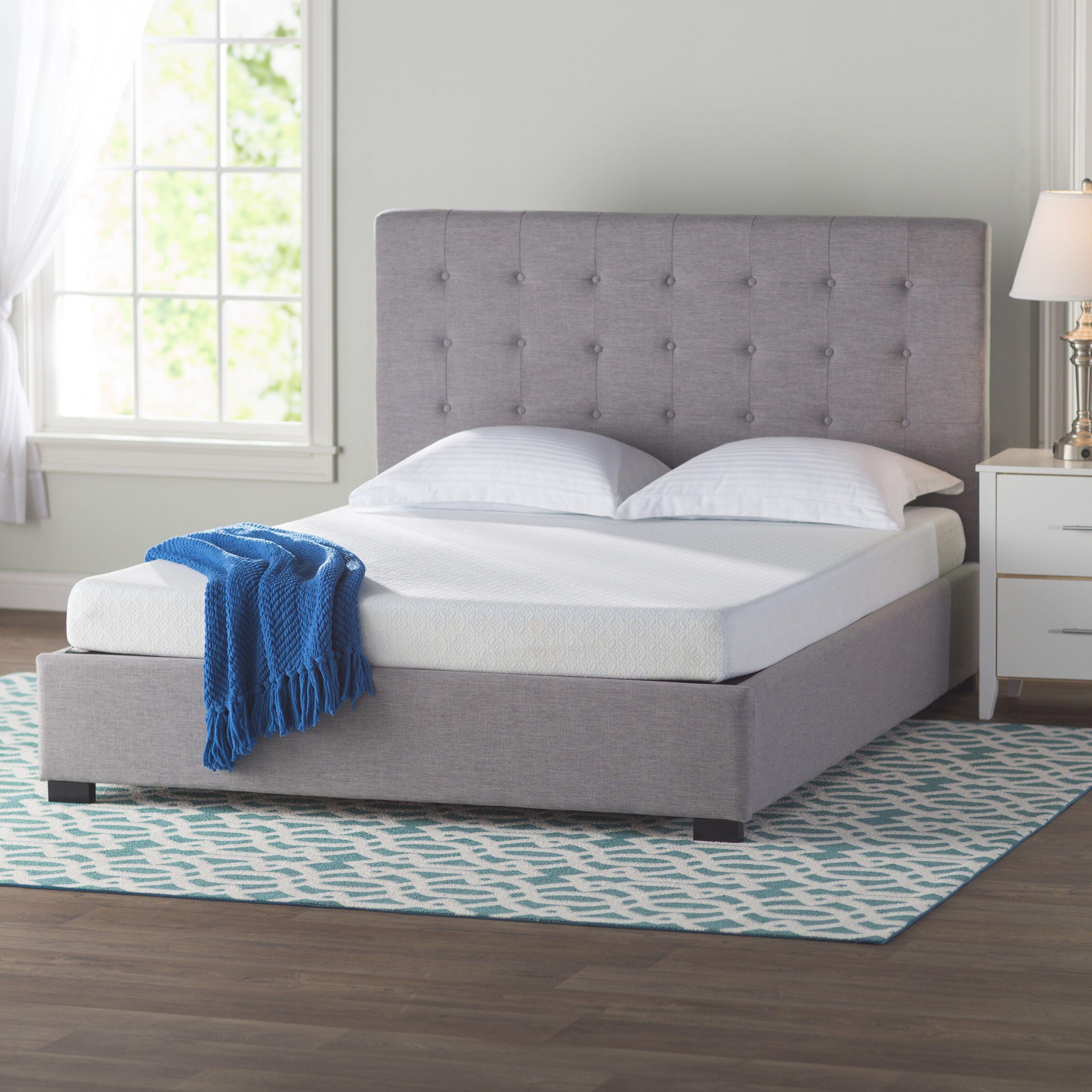 Hughes Queen Upholstered Platform Bed Firm memory foam
