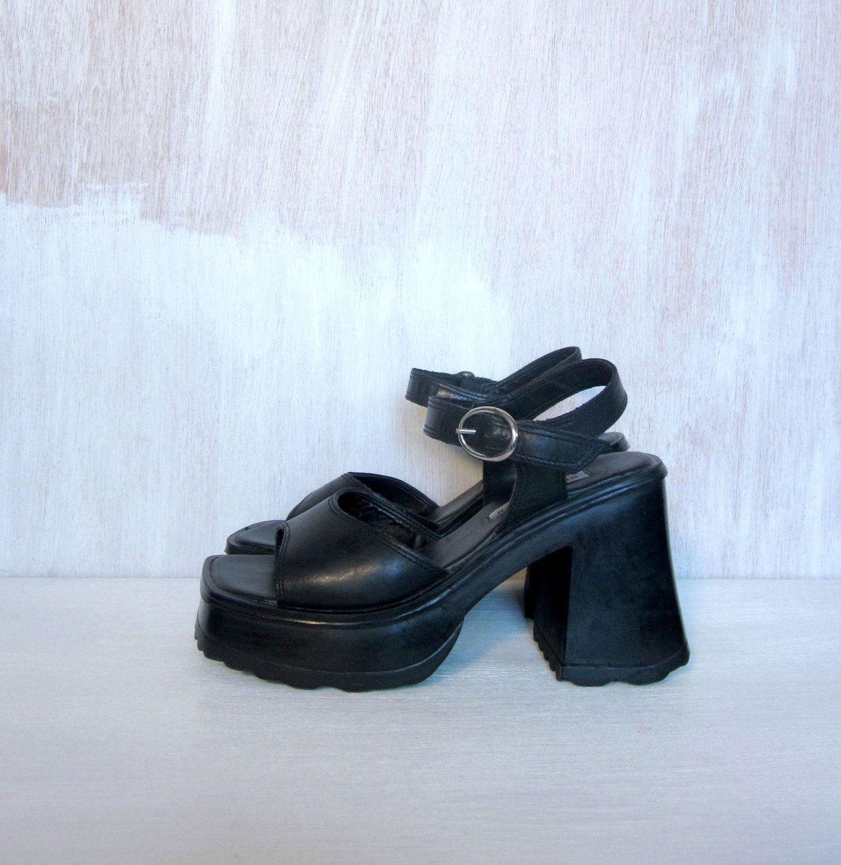 Black sandals grunge - Vintage 90 S Black Goth Grunge Platform Sandals By Foxandfawns