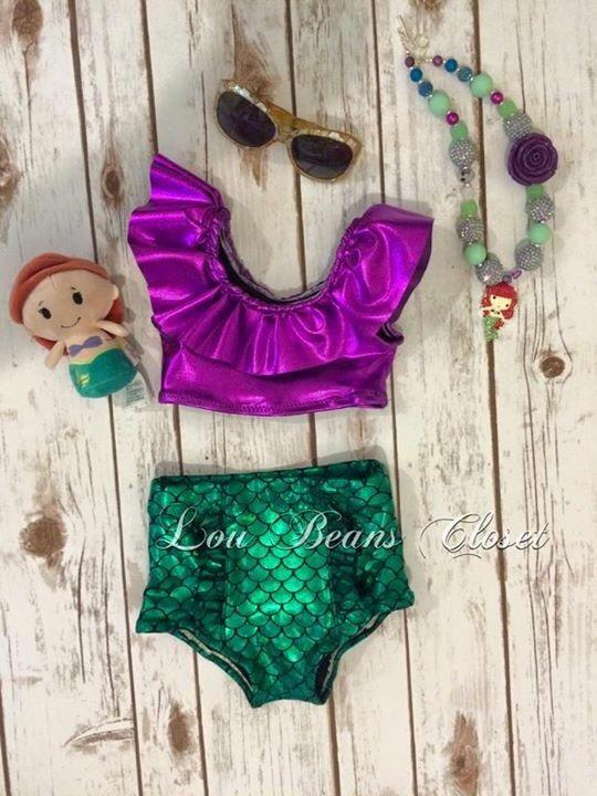 Jessica Simpson Little Girls Seersucker Two Piece Tankini Lilac 2T