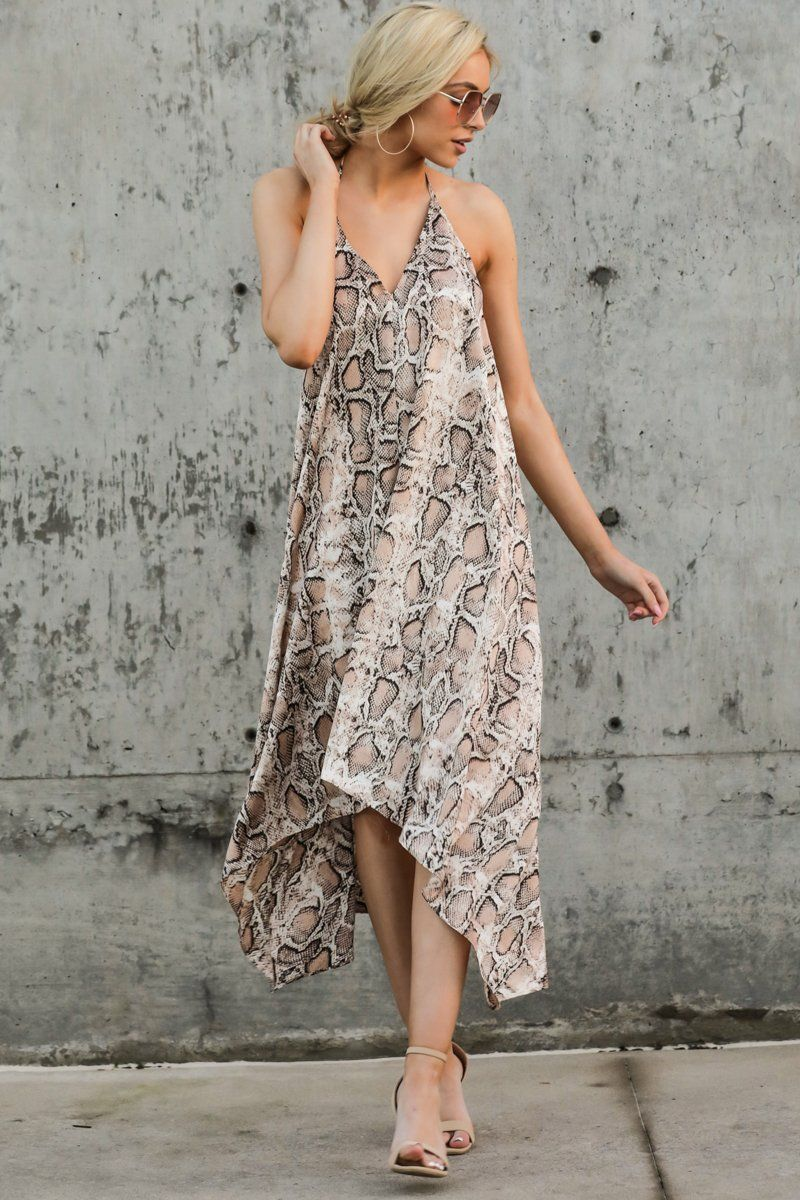 Sassy Tan Snake Print Dress Flowy Sleeveless Maxi Dress 44 00 Red Dress Snake Print Dress High Low Dress Dresses [ 1200 x 800 Pixel ]