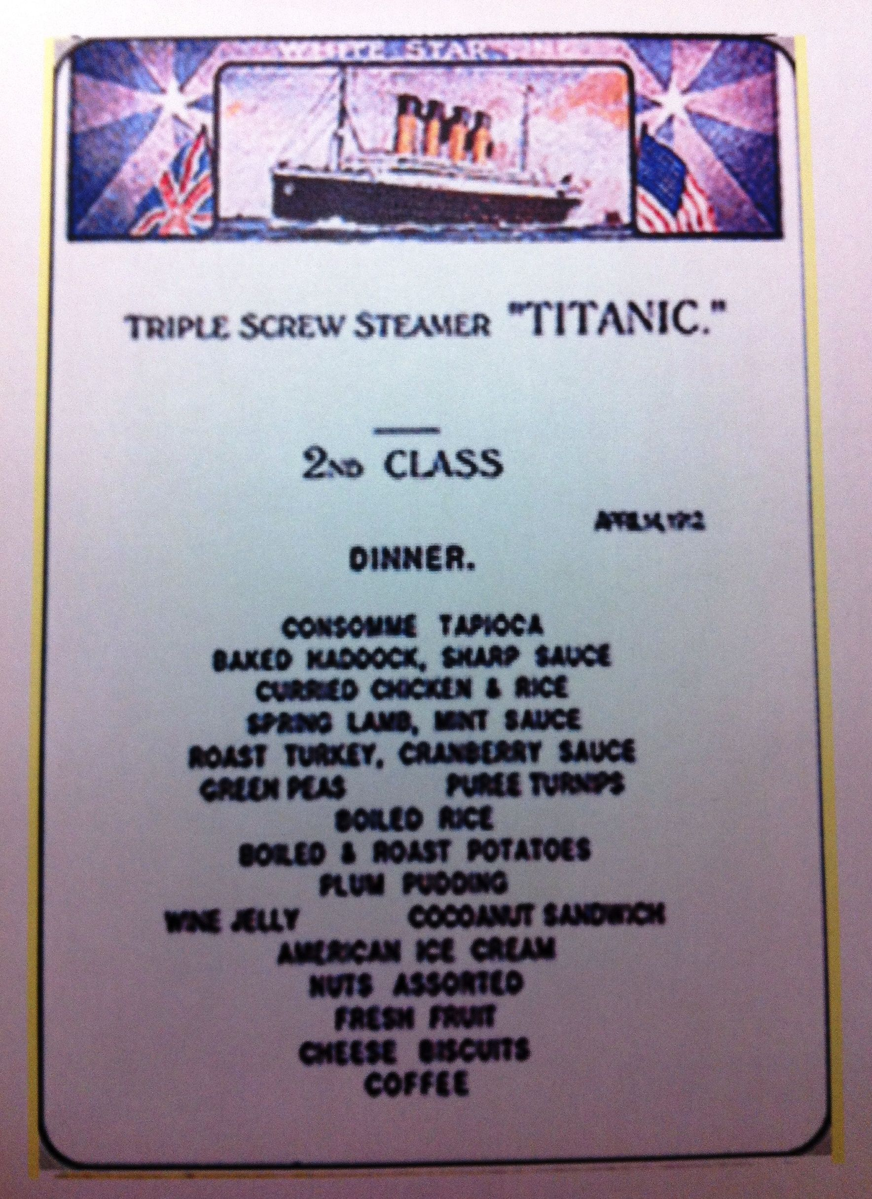Planning your Titanic Tribute: 2nd Class Menu | The "|1768|2429|?|en|2|972448d24026836262df0b282b589fa5|False|UNLIKELY|0.3760960102081299