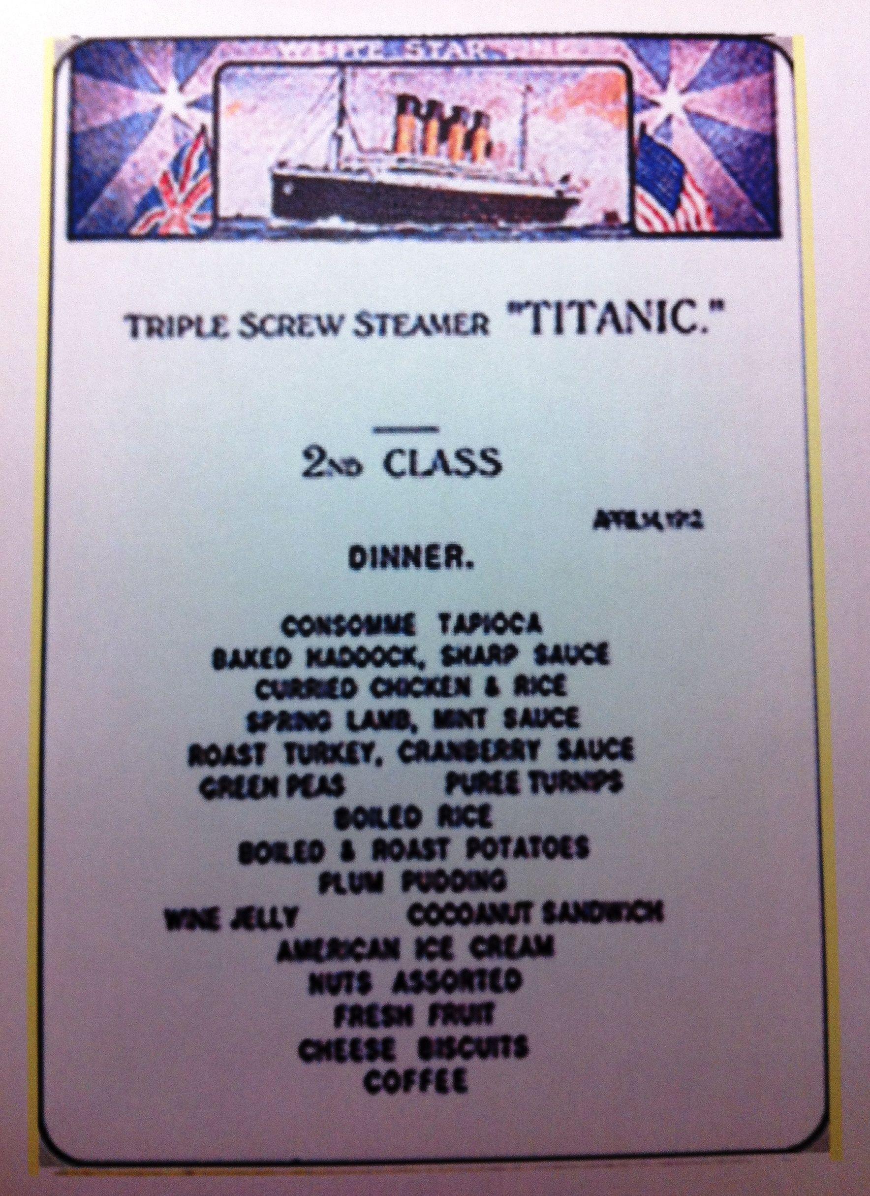 Planning your titanic tribute 2nd class menu titanic for Alaska fish and chicken menu