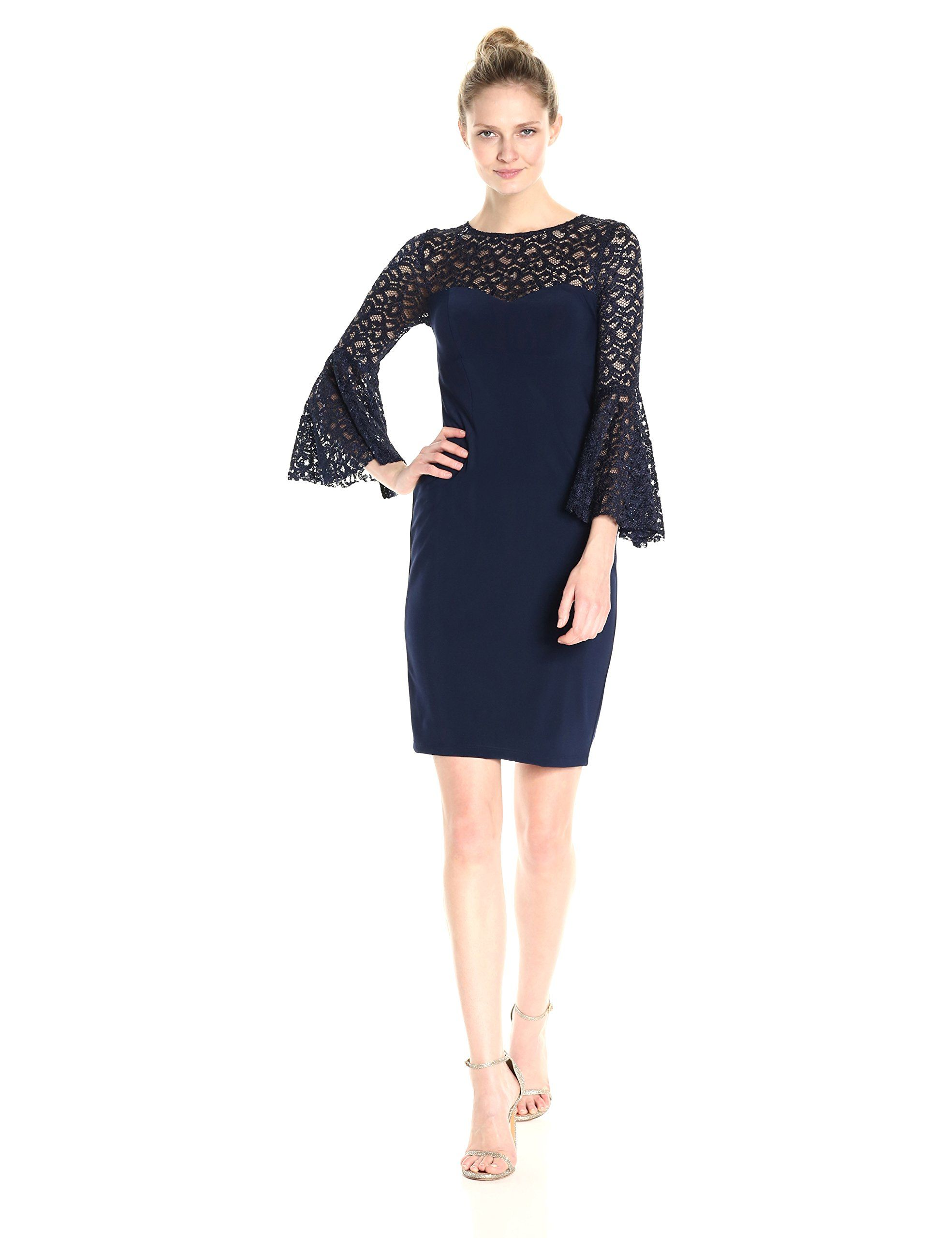 Xscape womens short ity dress with flounce lace sleeve navy