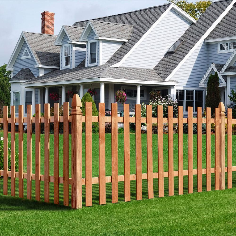 Outdoor Essentials 1 In X 4 In X 3 1 2 Ft Western Red Cedar Flat Top Fence Picket 27 Pack 239671 The Home Depot Fence Panels Fence Design Outdoor Essentials