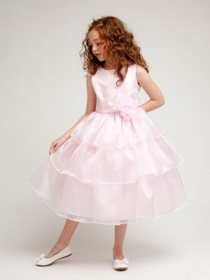 Pink Beautifully Three Layered Organza Flower Girl Dress (Sizes 2-12 in 3 Colors)