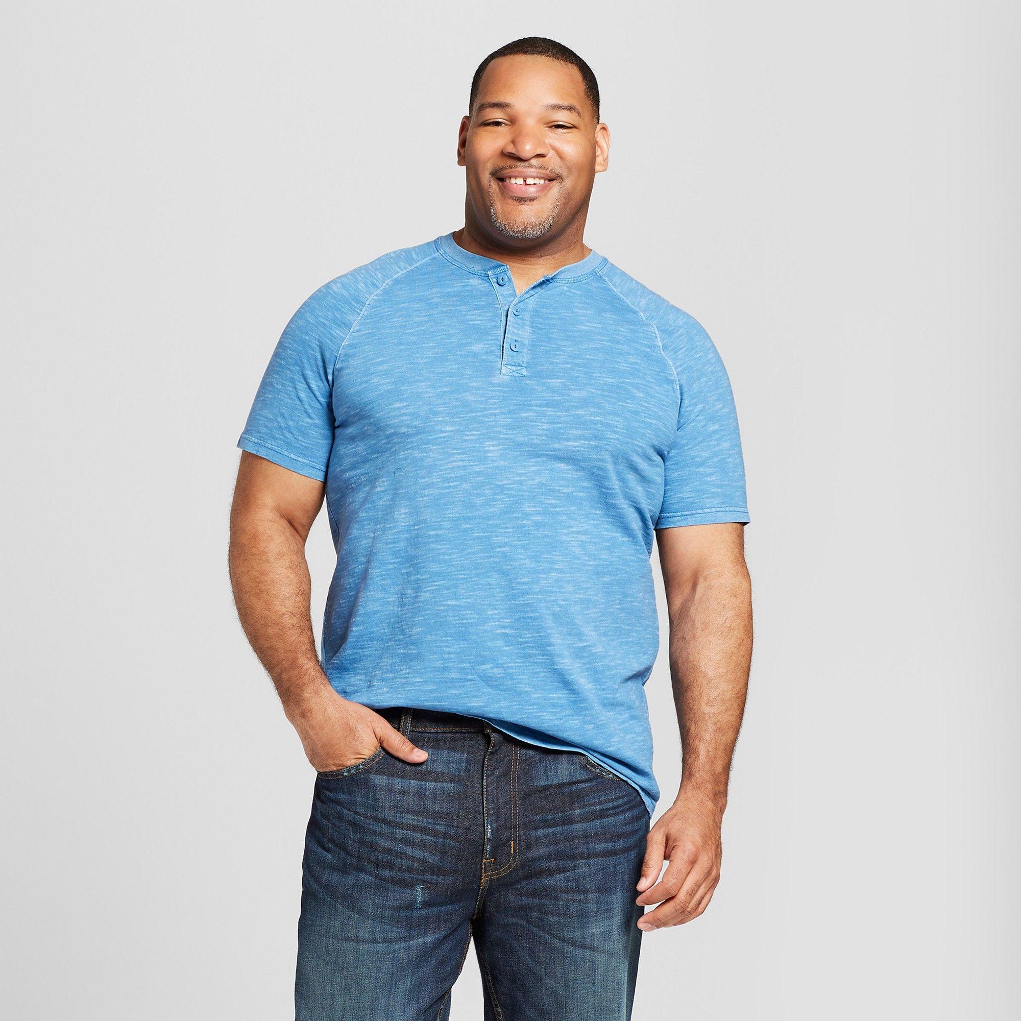 6762c971c5e8 Men's Big & Tall Short Sleeve Henley Shirt - Goodfellow & Co Blue Beam 5XBT