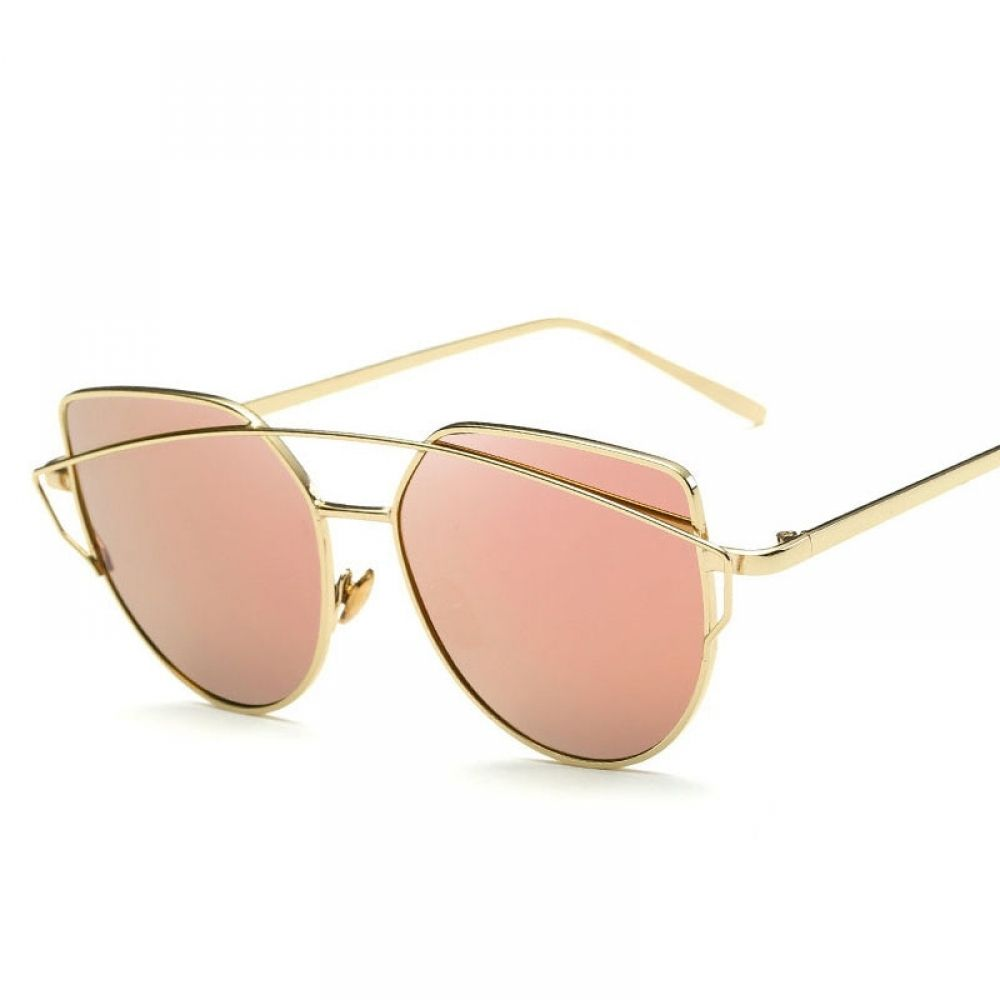 Cat eye sunglasses with double deck alloy frame cat eye