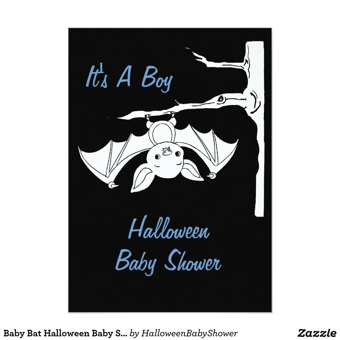 Baby Bat Halloween Baby Shower Invitation Cards 5\