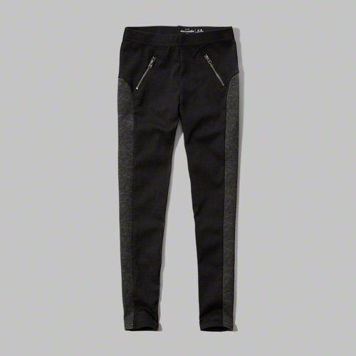 contrast texture ponte leggings