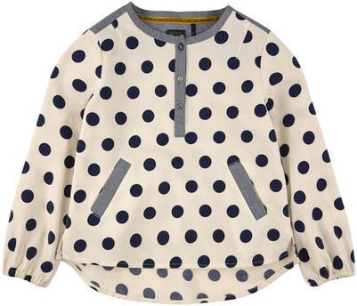 Ikks ivory and navy blue spotted blouse on shopstyle.co.uk