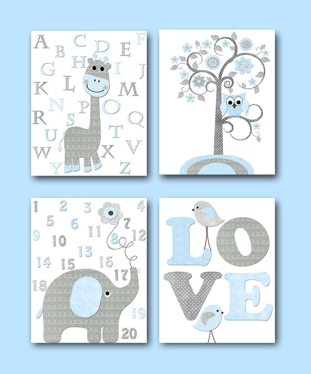 Elephant nursery wall art print mom baby dad by rizzleandrugee - Blue Grey Elephant Decor Giraffe Decor For Nursery Canvas Giraffe Alaphabet Elephant Numbers Baby Boy Wall Decor Baby Room Decor Set Of 4