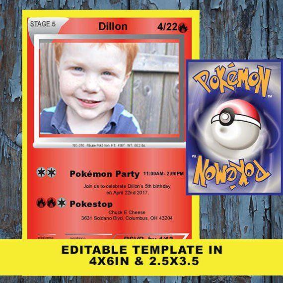 Pokemon Birthday Pokemon Birthday Invitation Pokemon By Dadparties Pokemon Birthday Pokemon Birthday Card Pokemon Party