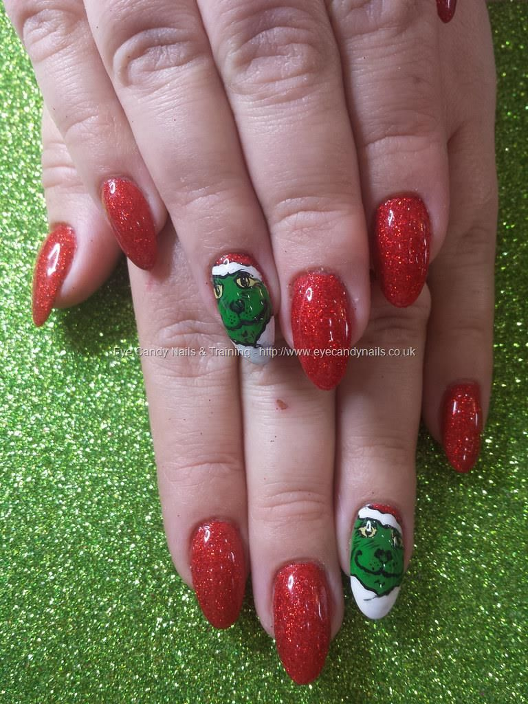 Red Glitter With Freehand Grinch Nail Art Nail Art Pinterest