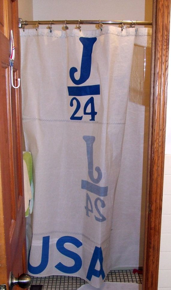 Sailcloth Shower Curtain Made From 100 Recycled By Boathousebags