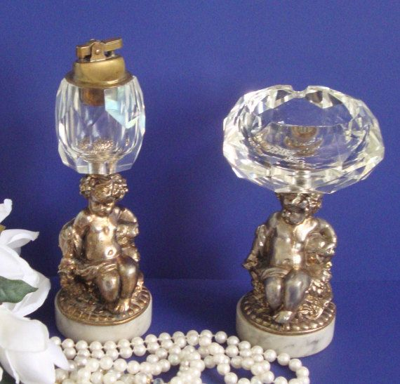 Ornate Cherub Smoking Set Crystal And Marble Tabletop