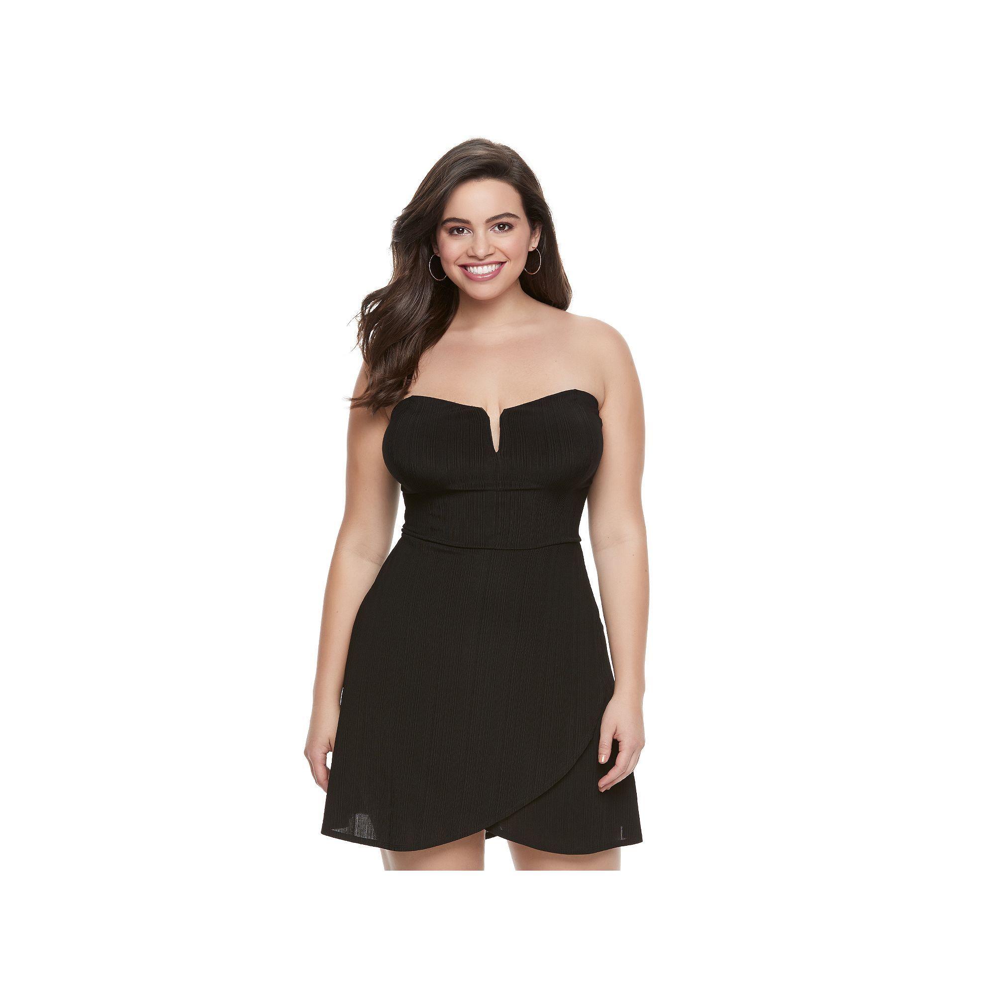 Juniors' Plus Size Candie's® Strapless Petal Hem Dress, Teens, Size: 2XL, Black