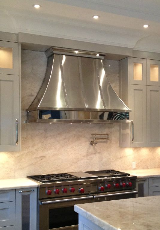 Chrome With Chrome Trim Kitchen Vent Hood Kitchen Range Hood