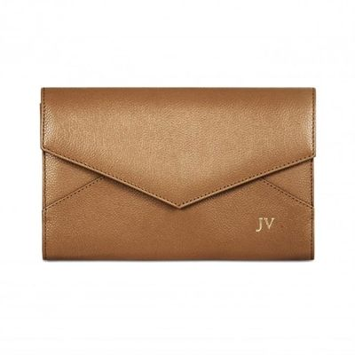 awesome Grainy Leather Envelope Clutch - Monogrammed Leather Envelope Clutch