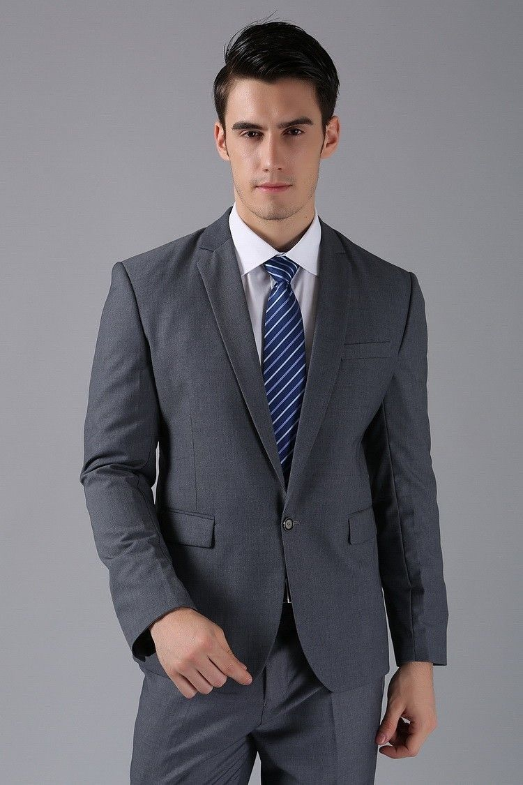 Latest Designs Grey Men Suits Blazer Wedding Suits Slim Fit Prom ...