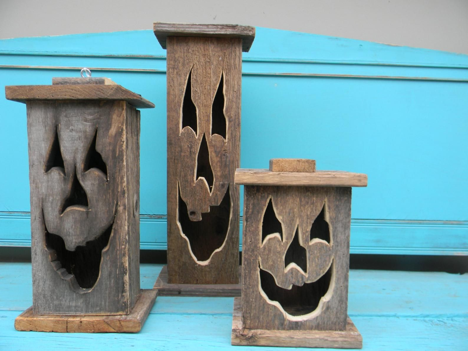 wood lantern, made with rustic worn wood, jack-o-lantern for