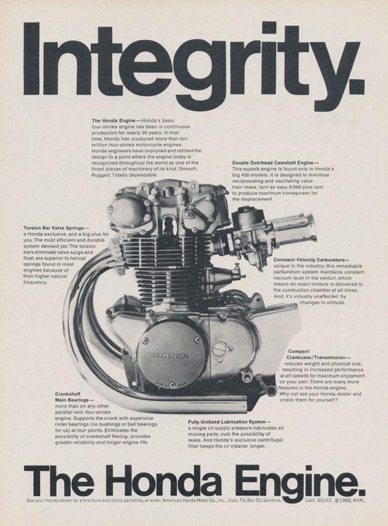 968 Honda Cb 450 Motorcycle Engine Integrity Original Ad Vintage Advertising Print Garage Wall Art Deco Vintage Honda Motorcycles Motorcycle Engine Honda Cb