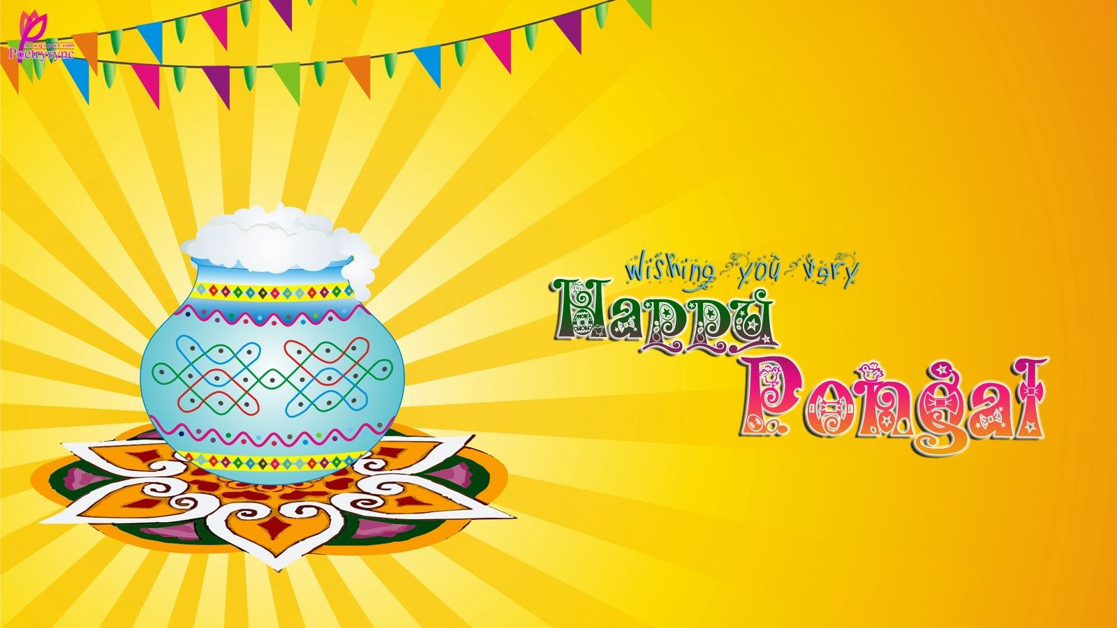 Beautiful Pongal Greetings Card For Lovers Happy Pongal Wish