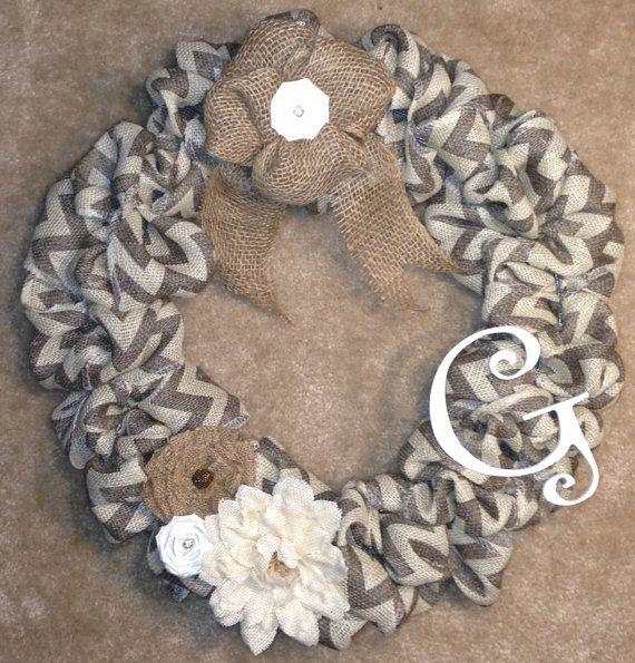 Gray & White Chevron Burlap Monogram Wreath by Mduzick25 on Etsy, $35.00