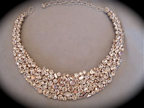 Crystal Bridal Statement Necklace Swarovski Mosaic Bib Wedding Jewelry