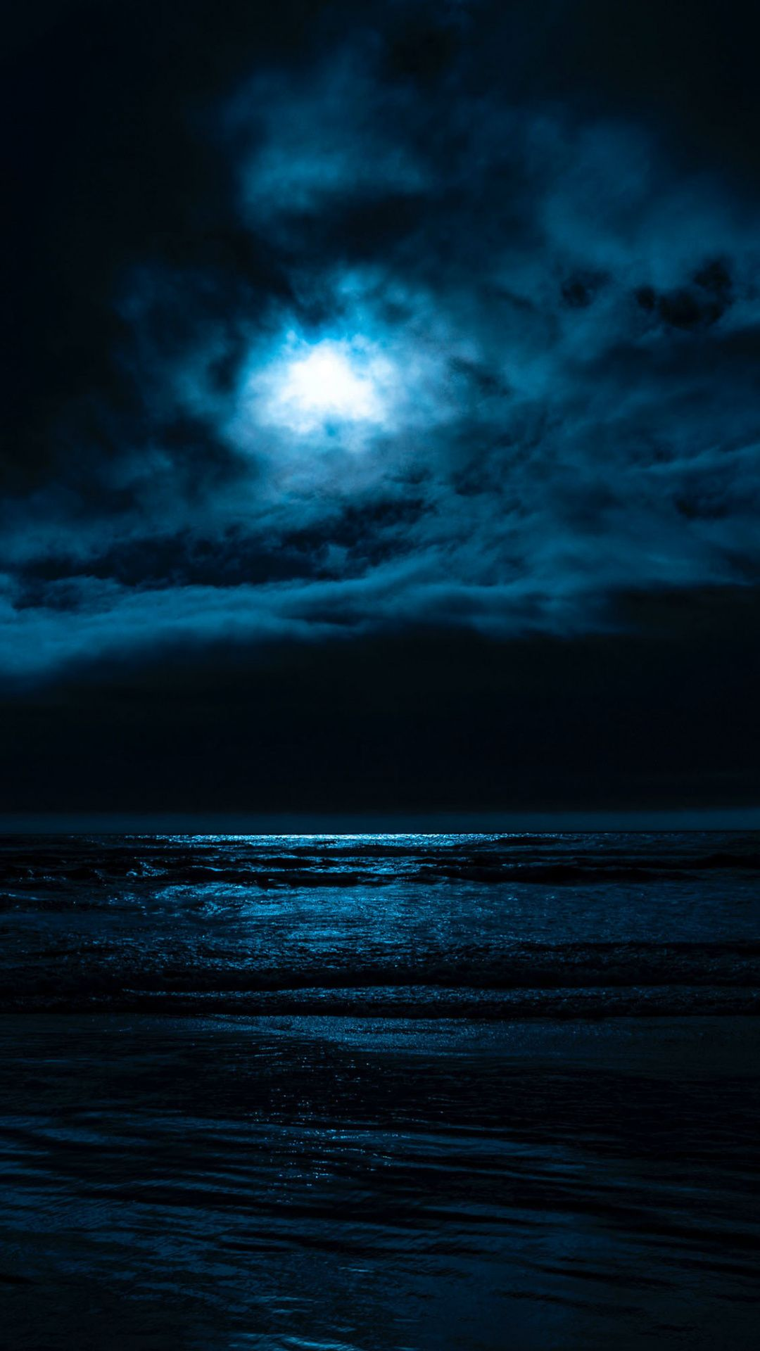 Clouds, moon light, night, sea, dark, 1080x1920 wallpaper