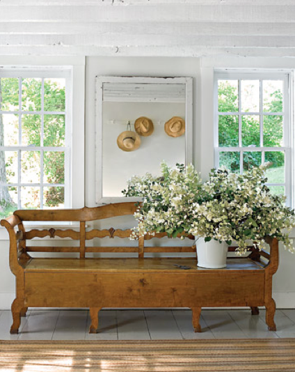 home tour...new england farmhouse meets swedish country    May 2, 2011 by danielleboudrot    Yesterday I posted about the idyllic home of Martina Arfwidson and David Weiss…the Elle Decor spread was from March 2005 and since then they have moved to a larger home more suited to their growing family…less formal and more rustic, this home is more New England farmhouse meets Swedish country