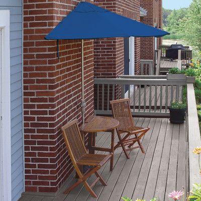 Blue Star Group Terrace Mates Caleo Dining Set Size: Premium 9', Color: Blue - Sunbrella