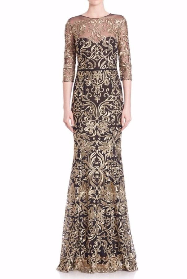 b84ef0c88f69 Marchesa Notte Black Gold Illusion Embroidered Lace Gown