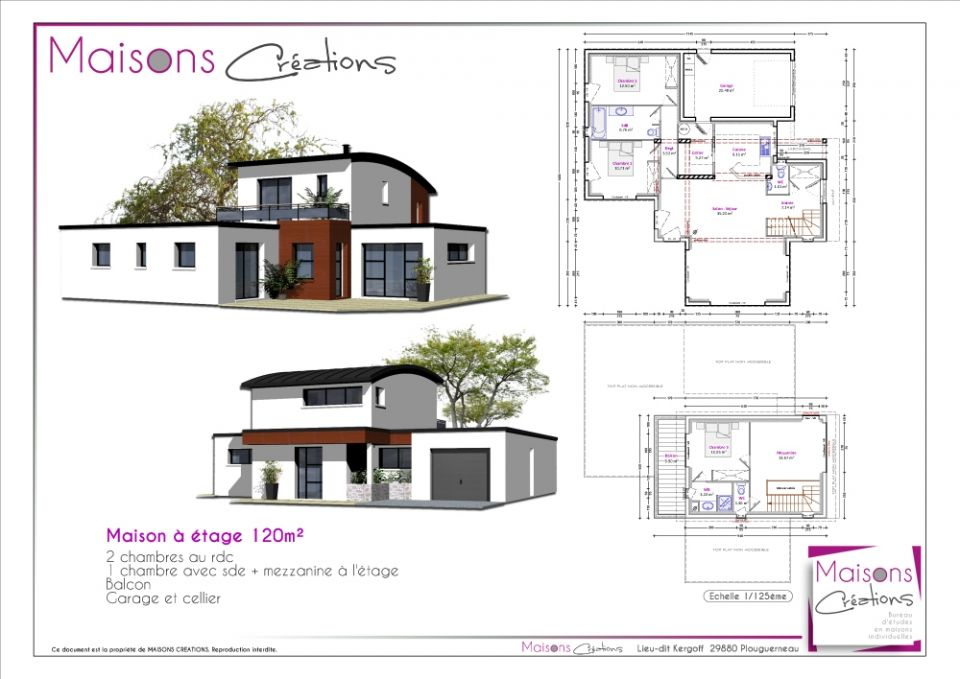 Maisons contemporaines a etage 120m 09 09 2014 for Plans maisons contemporaine