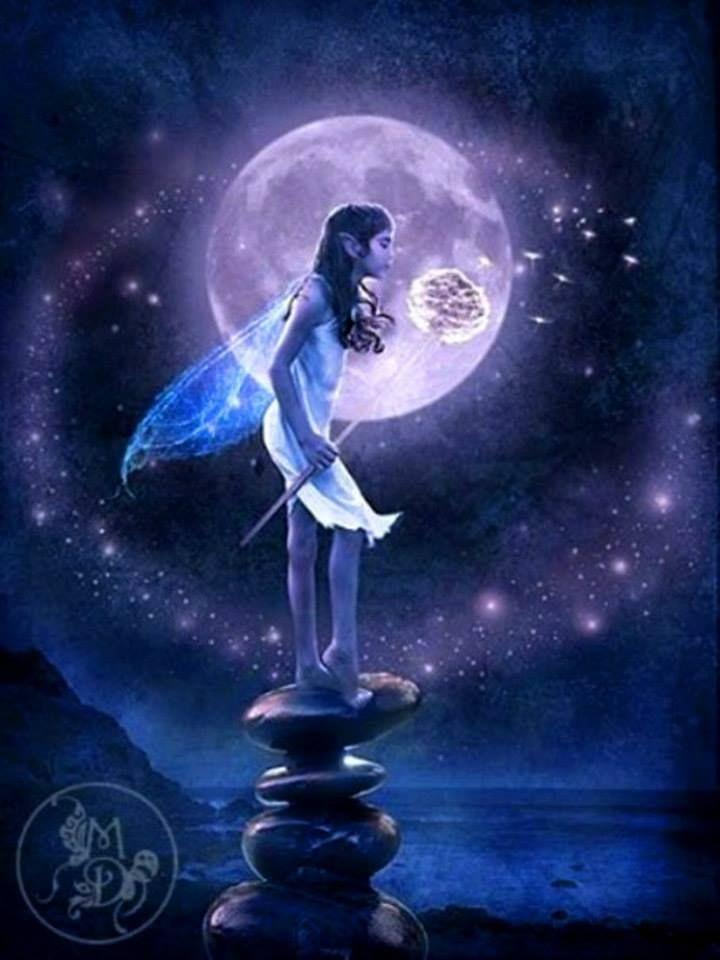 Mond Feen Moon Faries Fee Elfe Faire Fantasy Vollmond #2230 Alubild Alu-Bild