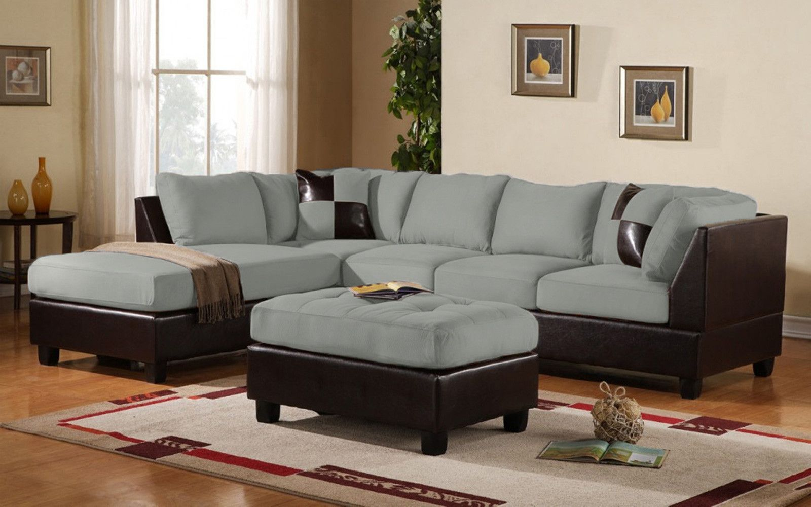 3 Piece Modern Soft Reversible Microfiber And Faux Leather