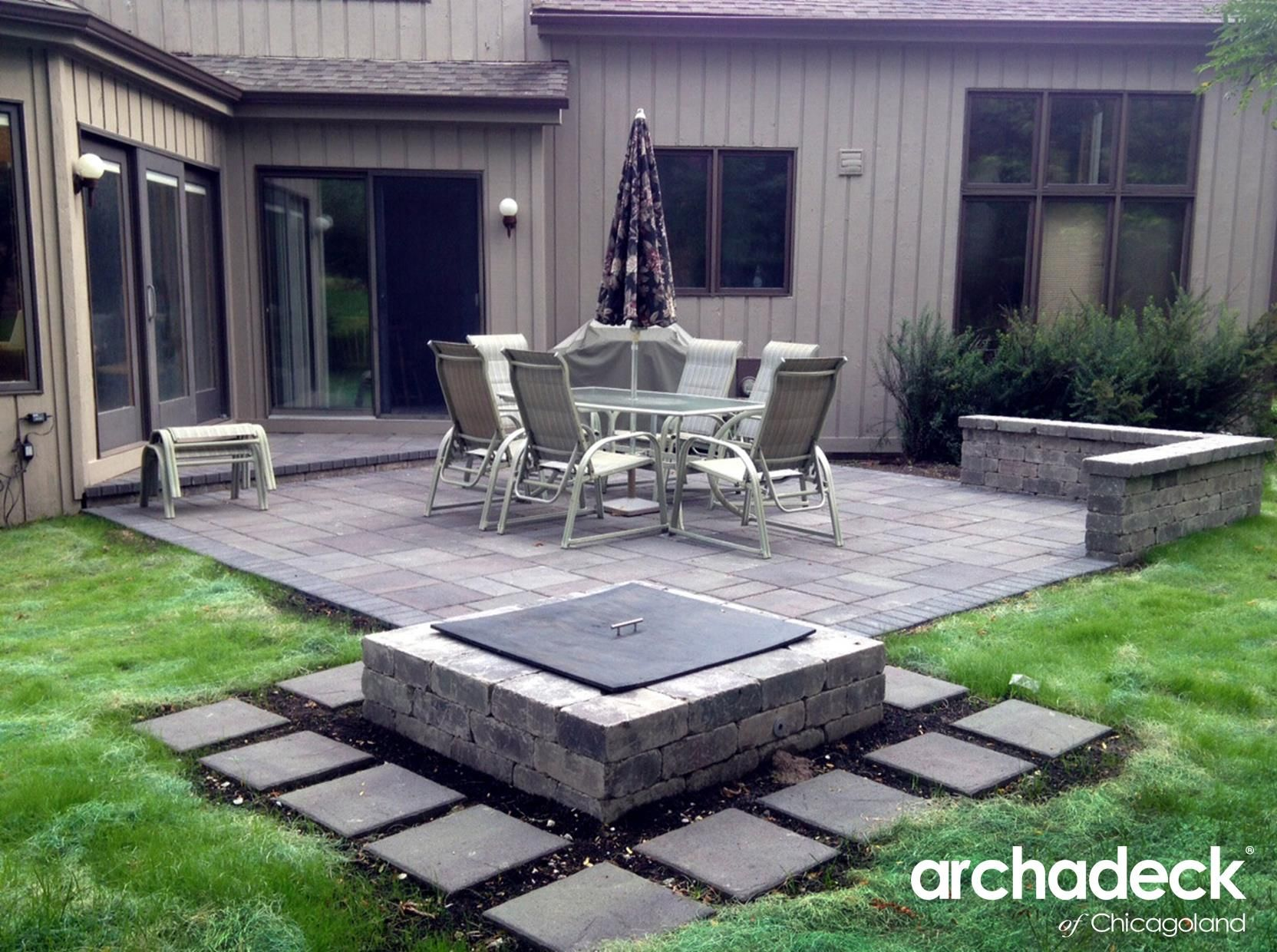 Belgard Patio with Square Fire Pit by Chicago Suburb patio builder