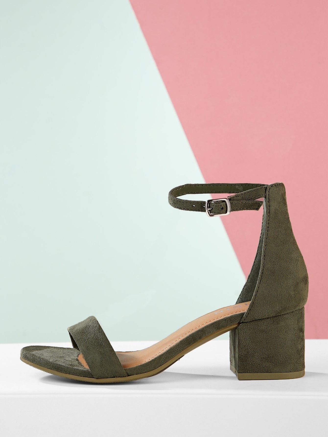 4751216292ca Casual Plain Ankle strap Army Green Mid Heel Chunky Vegan Suede Open Toe  Ankle Strap Low Block Heels
