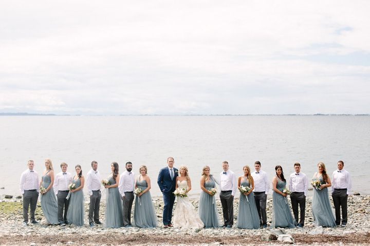 Dusty blue bridesmaid dresses + white and blush wedding bouquets | fabmood.com #beachwedding #dustyblue #dustybluebridesmaids #weddingparty #dustybluebridesmaiddresses