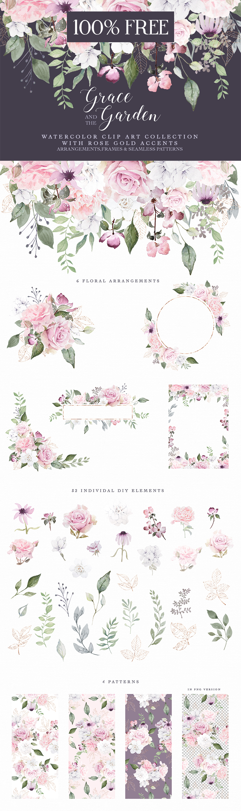 free watercolor flower clip art - Free Pretty Things For You