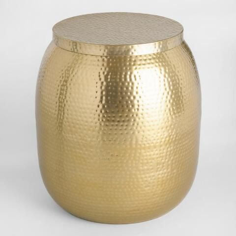 Gold Cala Hammered Drum Accent Table Metal Drum Accent Table Hammered Metal
