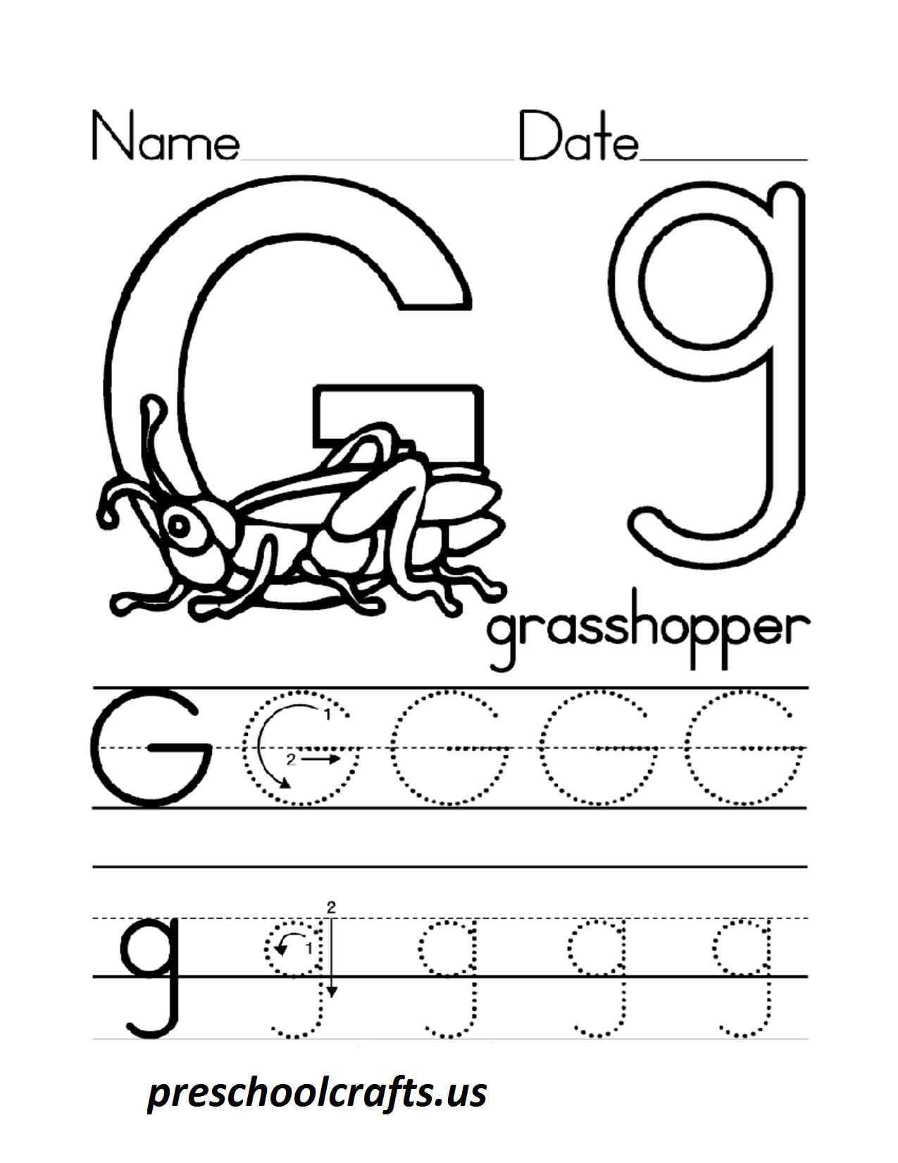Letter G Worksheets For Preschool Preschool Crafts