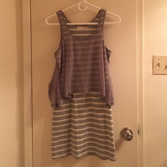 """Grey and White Striped Dress Grey and white striped mid-thigh length dress, size Small. By """"Blue Bird"""". With a unique, flowy attached top. Wears very cute and perfect for summer! Blue Bird Dresses"""