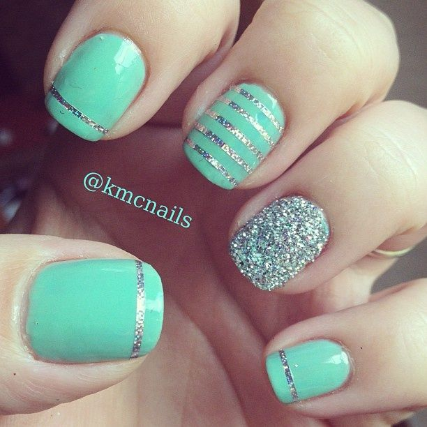 mint nail art with sparkles