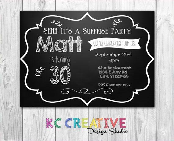Shhh Its a surprise Chalkboard Milestone surprise party