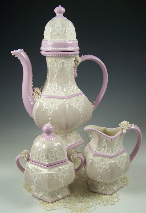 Love the lace and shape of this tea set!