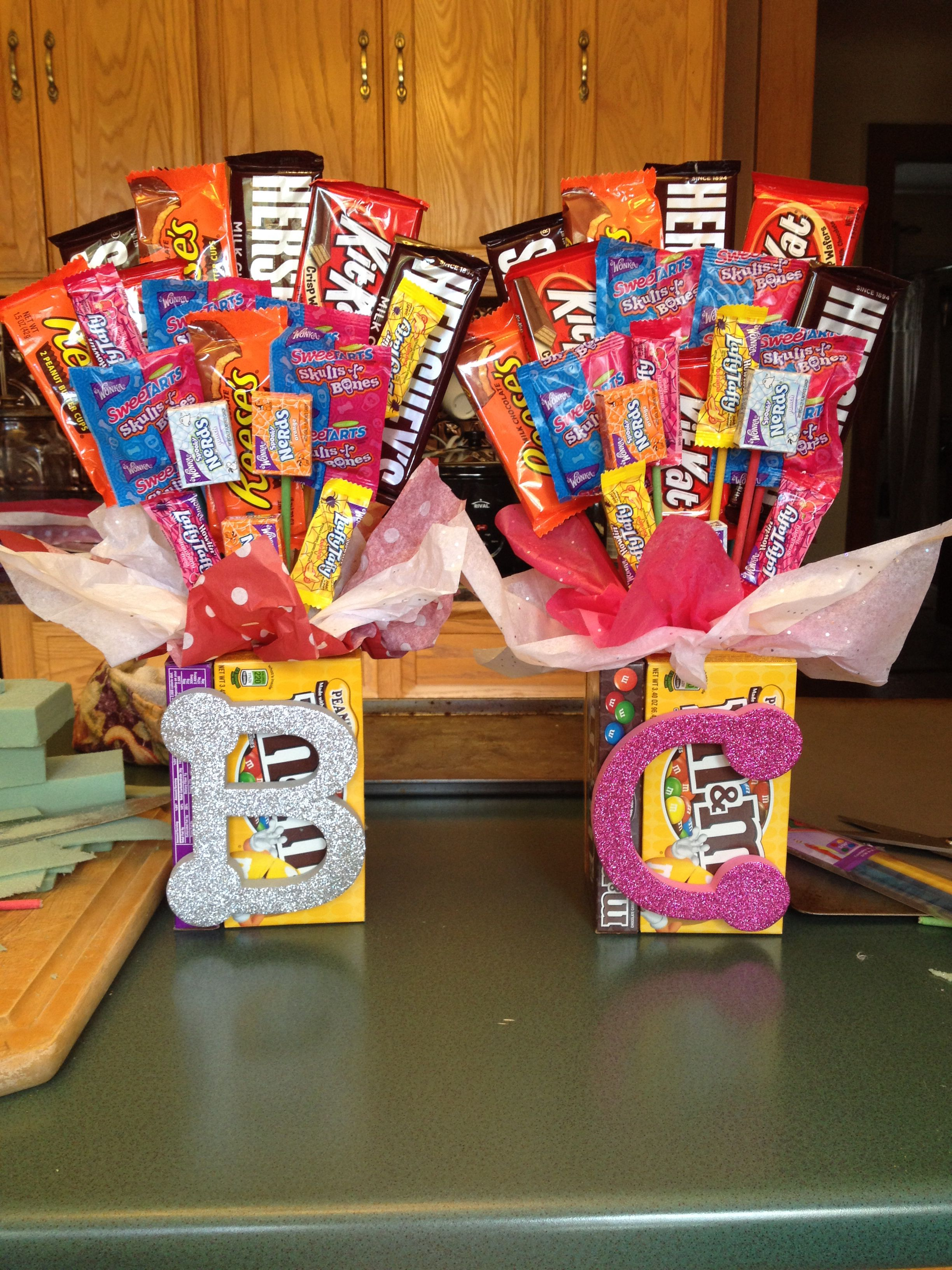Candy bouquet! I did this for senior night gifts but it would be great for party's and a friend with a sweet tooth!