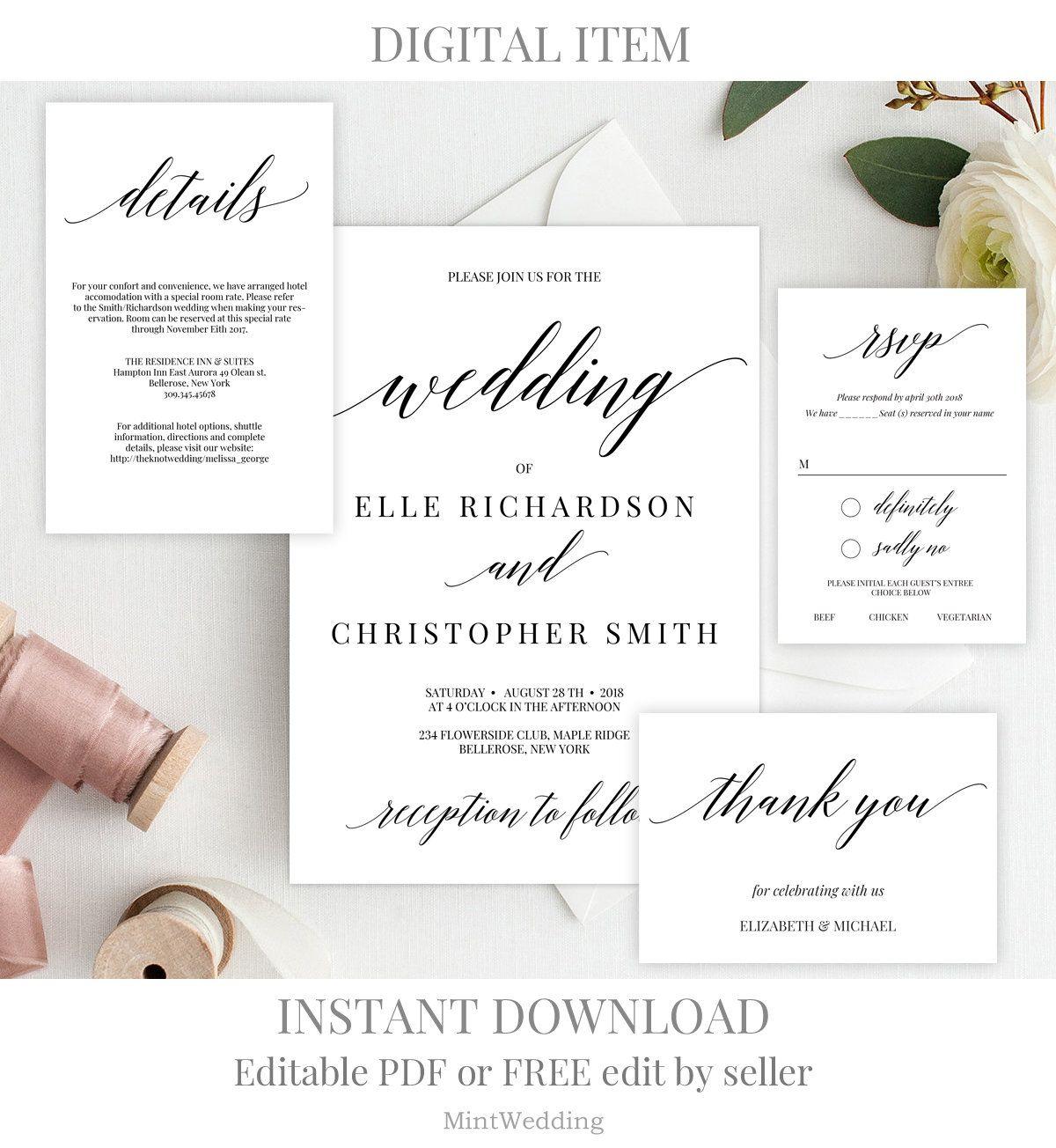 Rustic wedding invitation suite printable wedding invitation