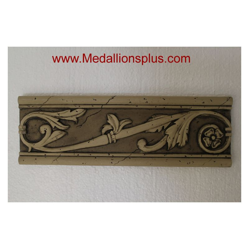 "Brown Ray - Resin Stone Border, 4"" X 12"" - Medallionsplus.Com"